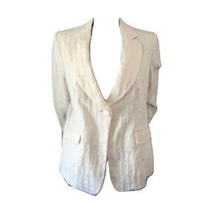 Armani Collezioni Cream Textured Blazer 14
